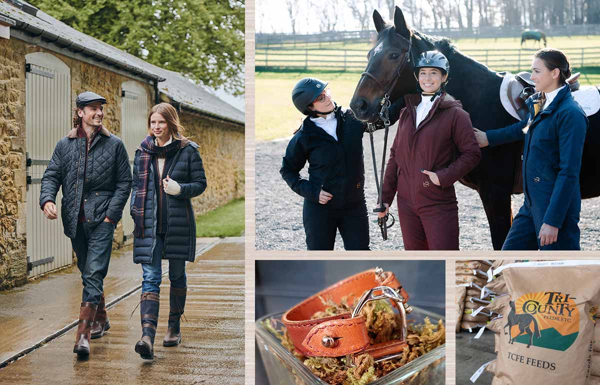 Dubarry, Goode Rider and LILO Collections items, as well as Tri-County's own feed